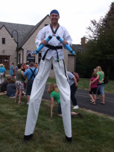 Stilt-walking Karate Master